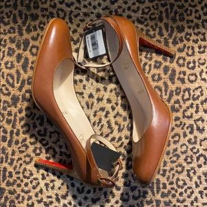 NWT Christian Louboutin brown heels w/ ankle strap